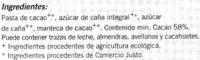 Tableta de chocolate negro 58% cacao - DESCATALOGADO - Ingredientes