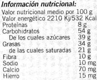 Tableta de chocolate negro 58% cacao - DESCATALOGADO - Información nutricional