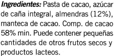 Tableta de chocolate negro con almendras 58% cacao - DESCATALOGADO - Ingredientes