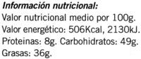 Tableta de chocolate negro con almendras 58% cacao - DESCATALOGADO - Información nutricional