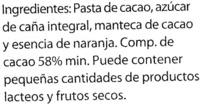 Chocolate negro sabor naranja 58% cacao - DESCATALOGADO - Ingredients - es
