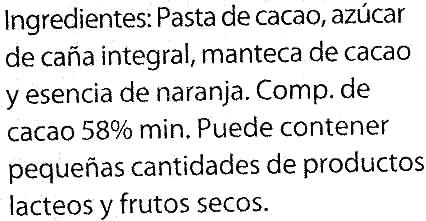 Chocolate negro sabor naranja 58% cacao - DESCATALOGADO - Ingrediënten - es