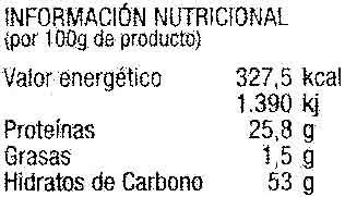 """Setas shiitake deshidratadas """"Muiños Fungicultura"""" - Información nutricional - es"""