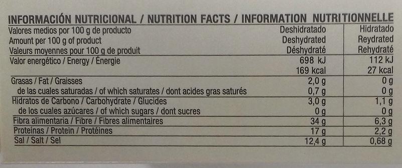 Algas deshidratadas Wakame - Información nutricional