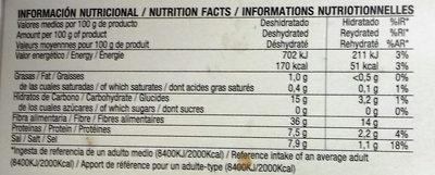 Algas Spagheti De Mar Bio - Informació nutricional