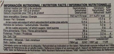 Espagueti De Mar Bio - Información nutricional - es