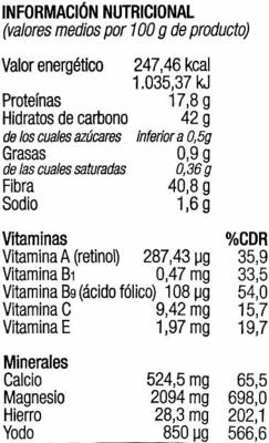 Algas lechuga de mar deshidratadas - Información nutricional