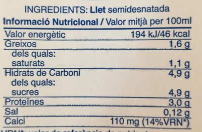Llet semidesnatada - Nutrition facts - es