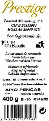 """Apio """"Prestige"""" - Información nutricional"""
