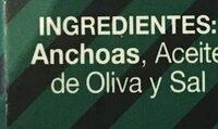 Filetes de anchoas - Ingredients - es