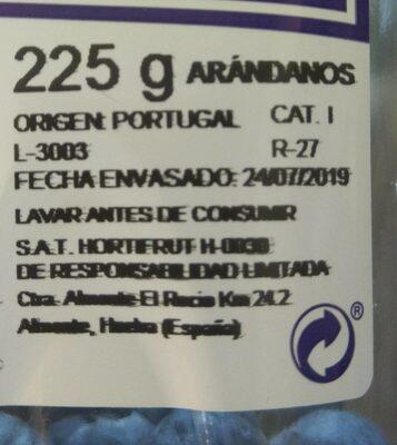 Arándanos - Informations nutritionnelles - es