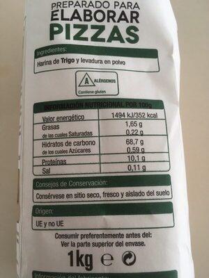 Preparado para elaborar pizzas - Información nutricional