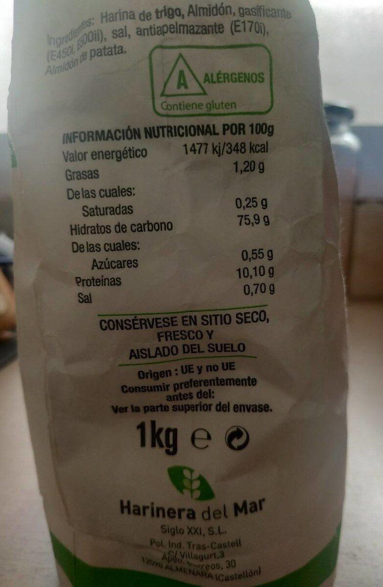 Harina de Tempura - Información nutricional