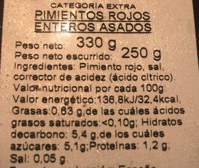 Pimientos rojos asados - Ingrédients - fr