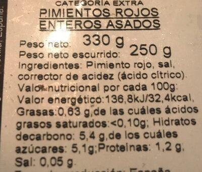 Pimientos rojos asados - Informació nutricional - es