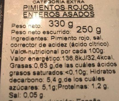Pimientos rojos asados - Informations nutritionnelles - fr