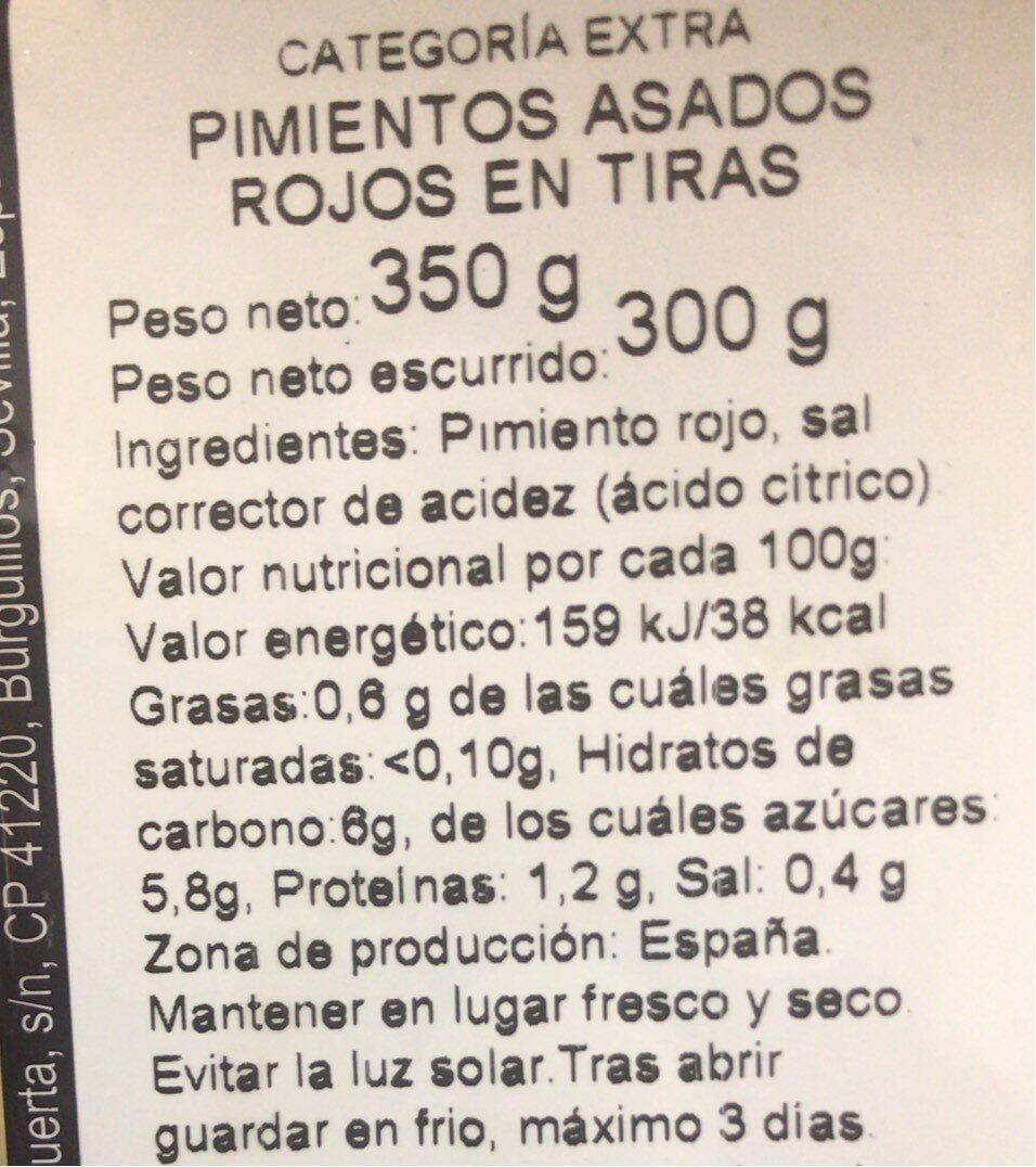 Pimientos Rojos Asados - Informations nutritionnelles - es