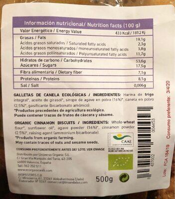 Fibran canela - Información nutricional