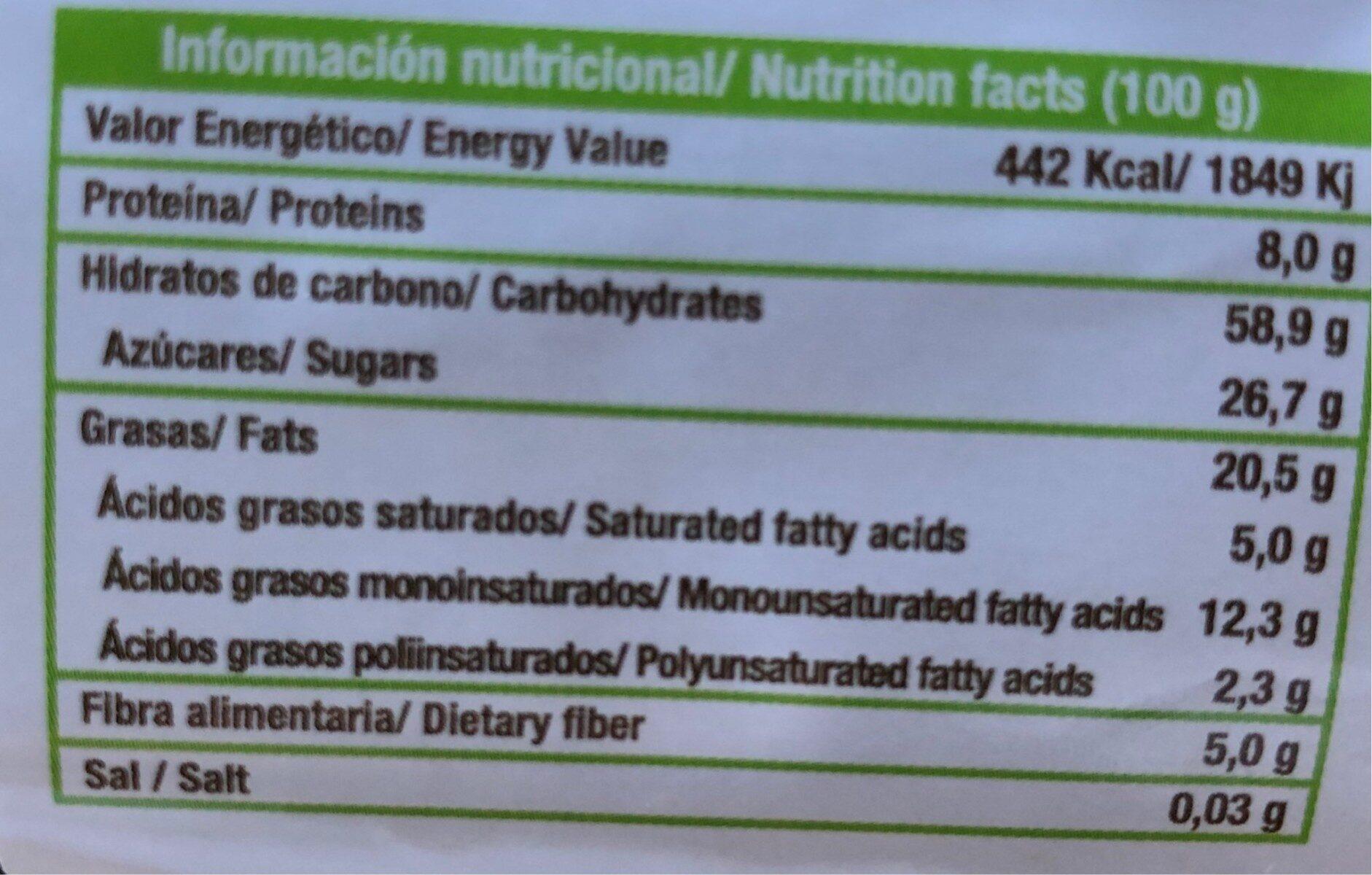 Galletas de espelta - Nutrition facts
