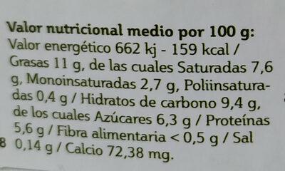 Flan de requesón - Informations nutritionnelles - es