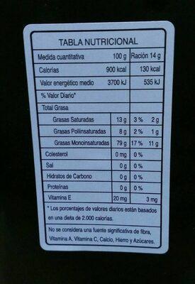 Aceite de Oliva Virgen Extra Ecológico Casa Pareja - Información nutricional - es