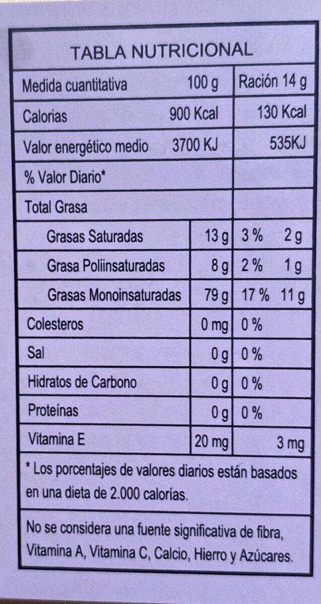 Aceite de oliva virgen extra DEMETER - Información nutricional - es