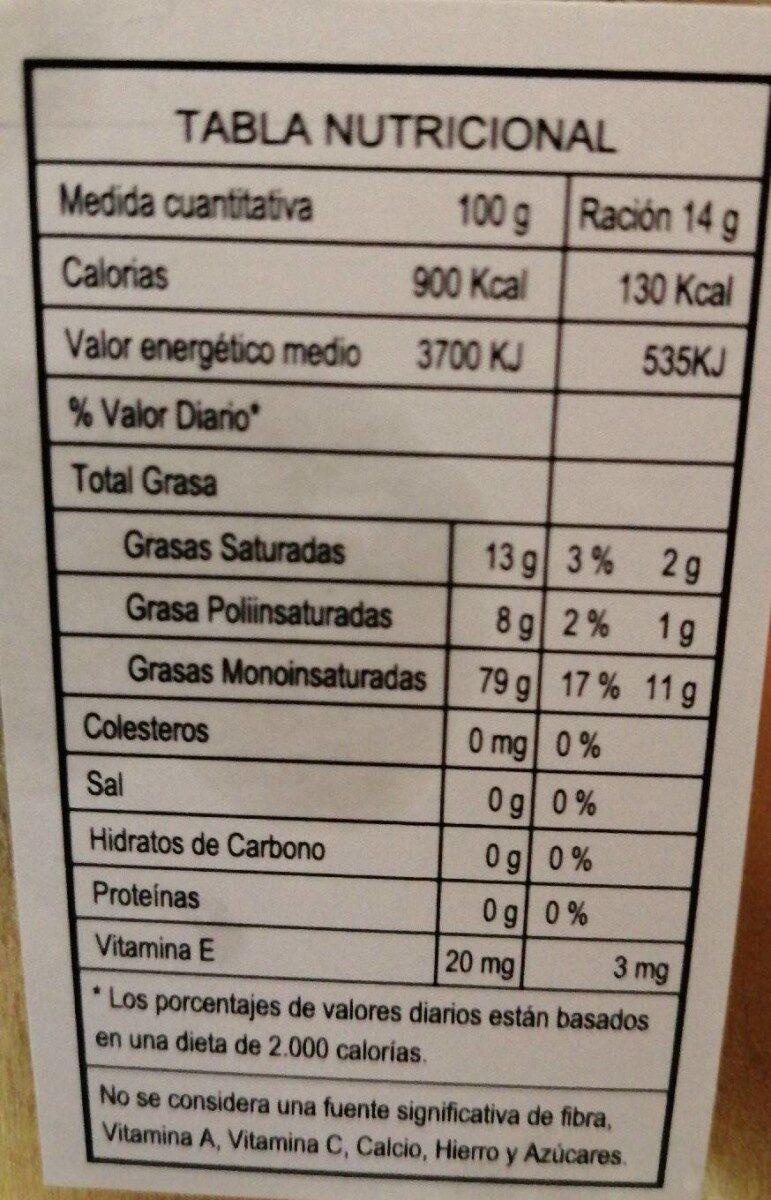 Aceite de oliva virgen extra ecológico categoría superior - Información nutricional - es