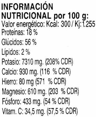 Algas dulse deshidratadas - Información nutricional
