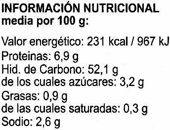 Algas kombu deshidratadas - Información nutricional