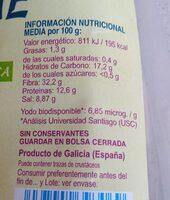 Alga wakame - Información nutricional - es