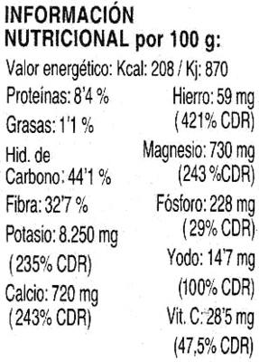 Algas espagueti de mar deshidratadas - Información nutricional
