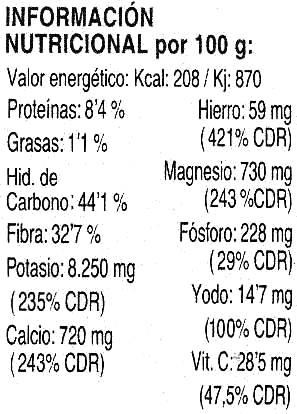 Espagueti de mar - Nutrition facts - es