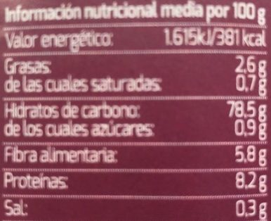 Tort. Algues Riz S / Bio De Sel - Información nutricional