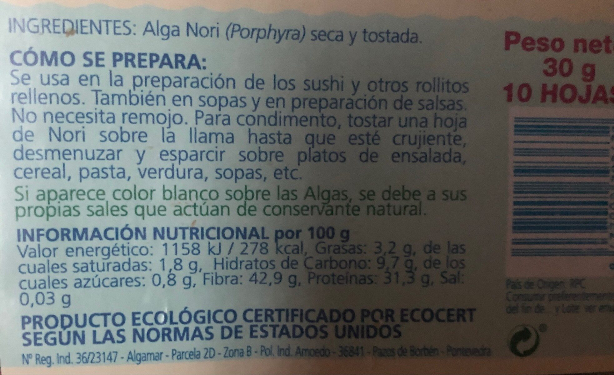 Alga Nori Para Sushi - Ingredients - es