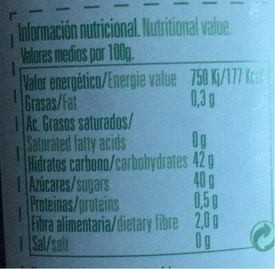 Mermelada ecológica - Informations nutritionnelles - es