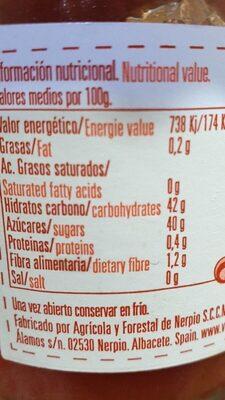 Mermelada de fresa ecológica - Informations nutritionnelles