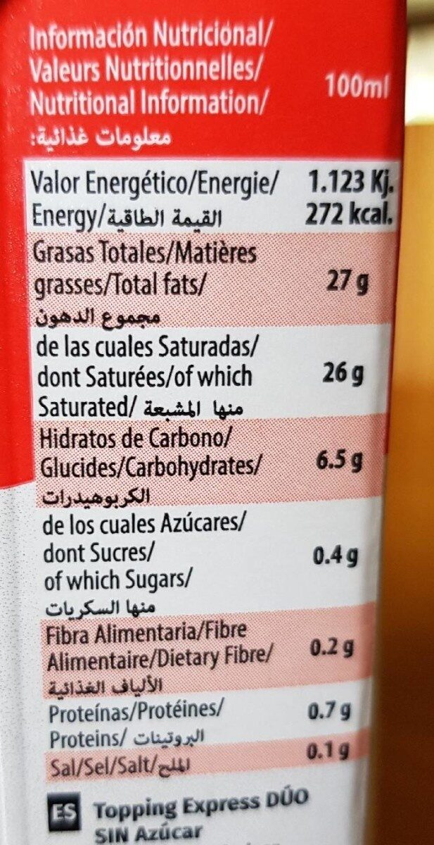 Topping - Informations nutritionnelles - fr