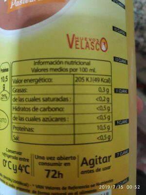 Claras de huevo pasteurizado - Información nutricional