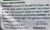 Vegeburger tofu & espinagas - Ingrediënten
