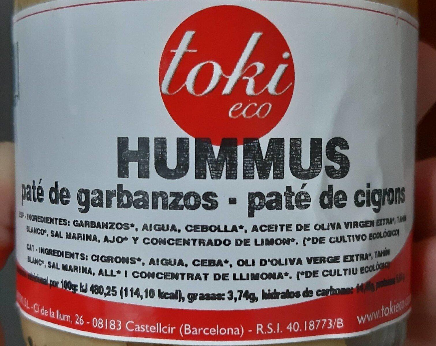 Hummus - paté de cigrons - Información nutricional