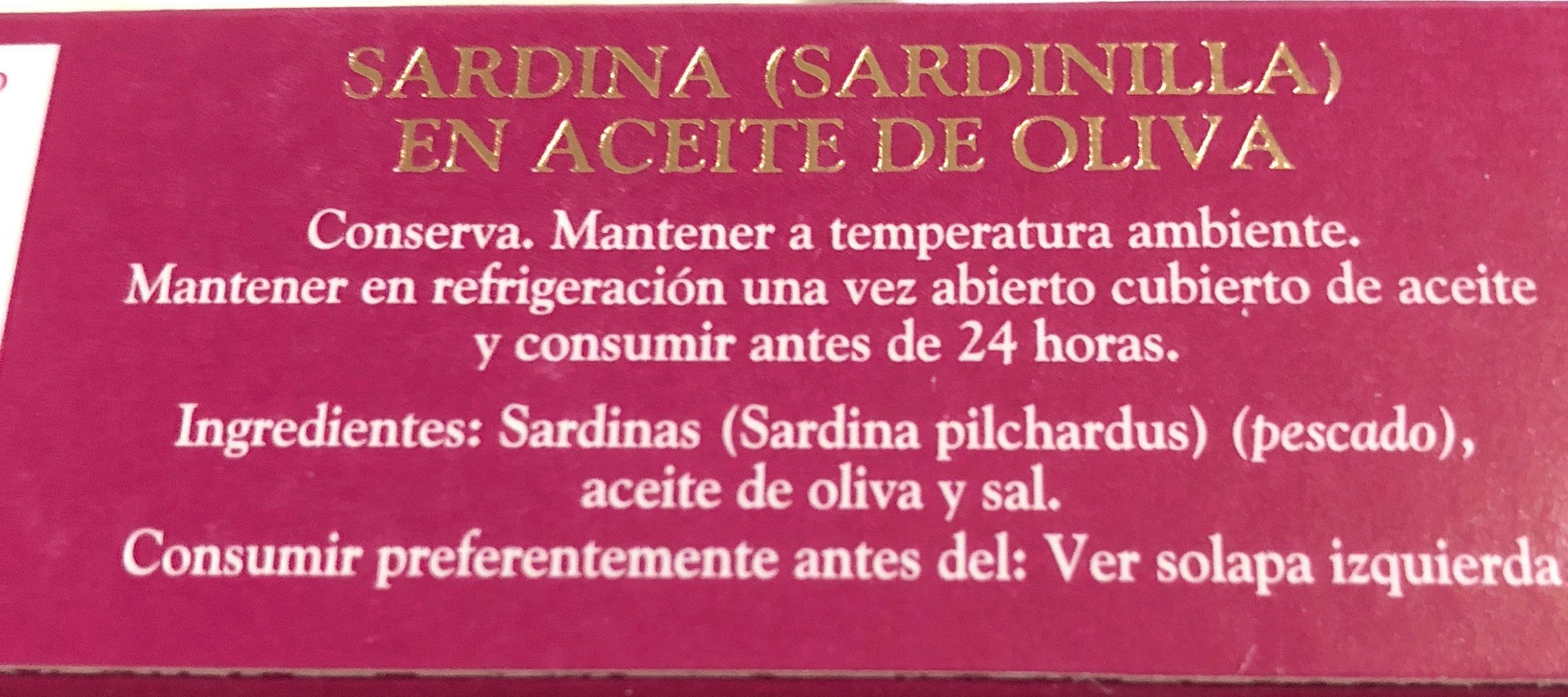 Sardinas en aceite de oliva - Ingrediënten - fr