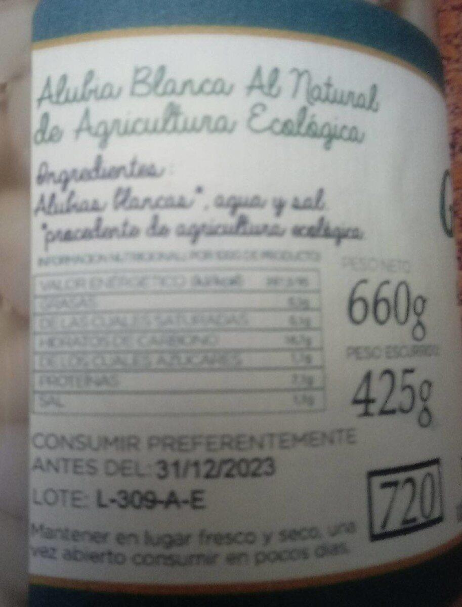Alubias blanca al natural extra - Nutrition facts