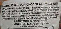 Magdalenas con chocolate y naranja - Ingredientes