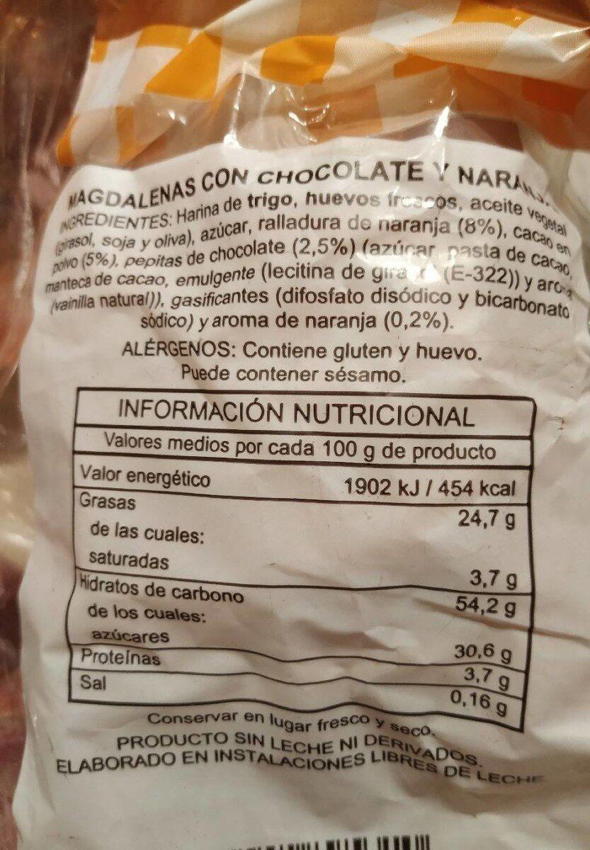 Magdalenas con chocolate y naranja - Información nutricional