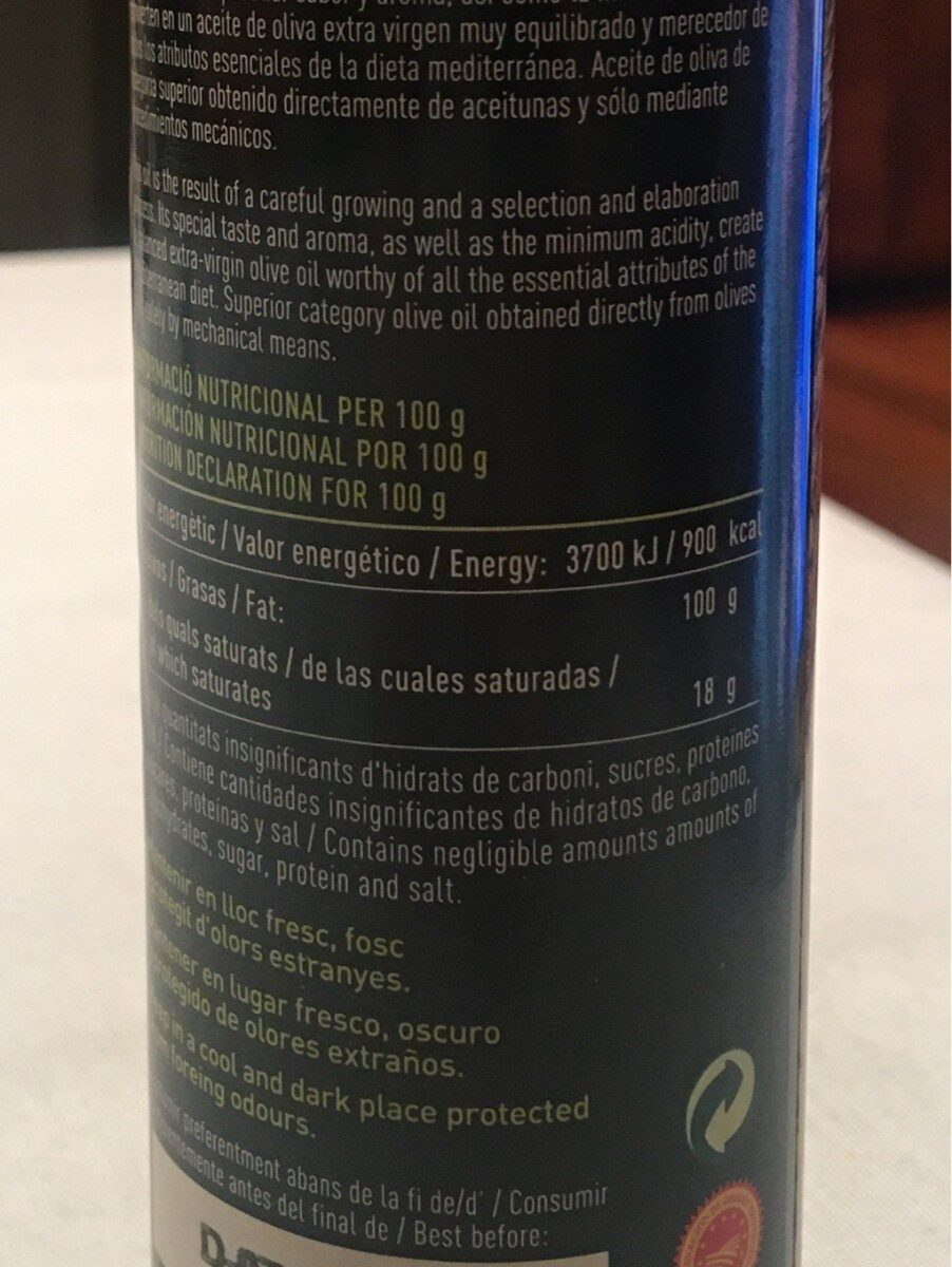 Oli d'oliva verge extra arbequina - Nutrition facts - es