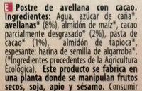 Postre de avellana Cacao - Ingredients