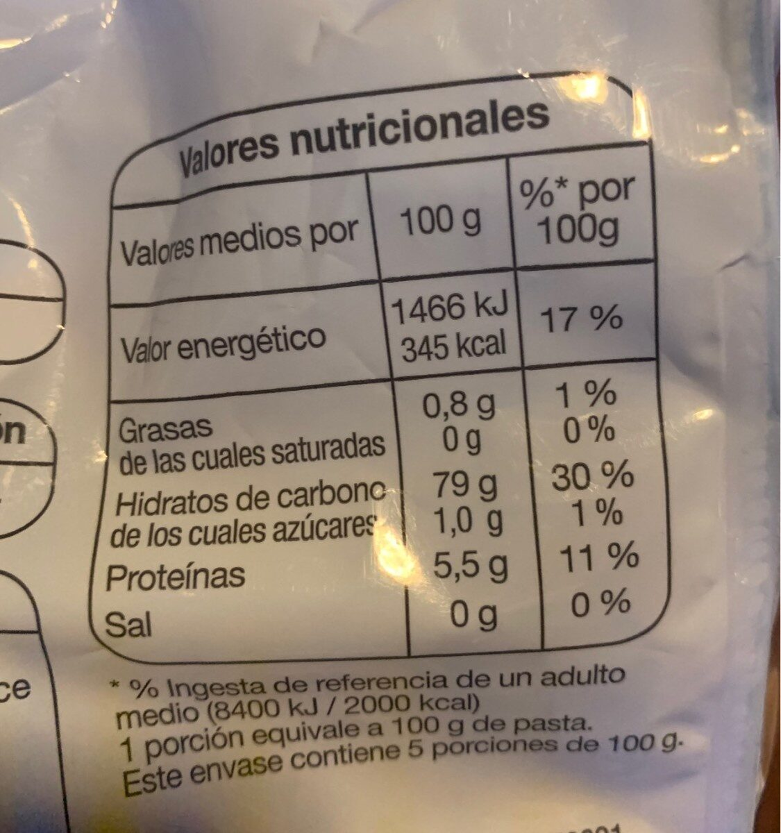 Pasta Plumas - Información nutricional