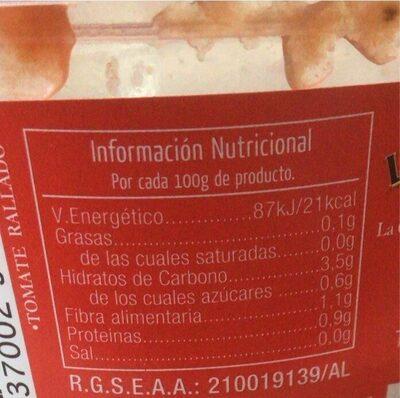 Tomate natural rallado - Nutrition facts - es