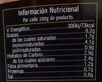 Tomate natural rallado con aceite de oliva - Información nutricional