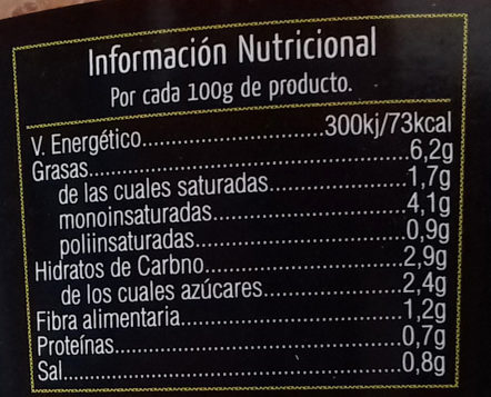 Tomate natural rallado - Informations nutritionnelles